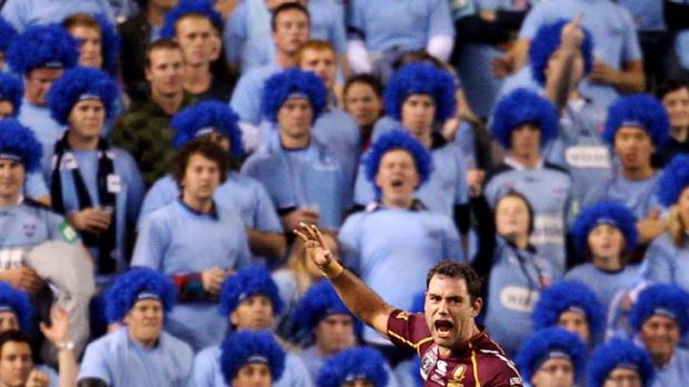 Blue murder … Maroon's captain Cameron Smith celebrates Queensland's victory in last night's Origin match at ...