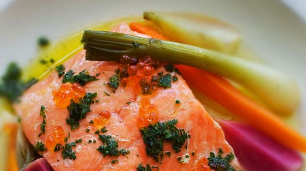 Poached Salmon with autumn vegetables and salmon roe.