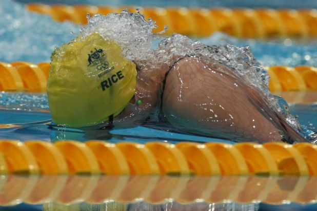 Head down ... Stephanie Rice on her way to winning the women's 200m individual medley gold medal.