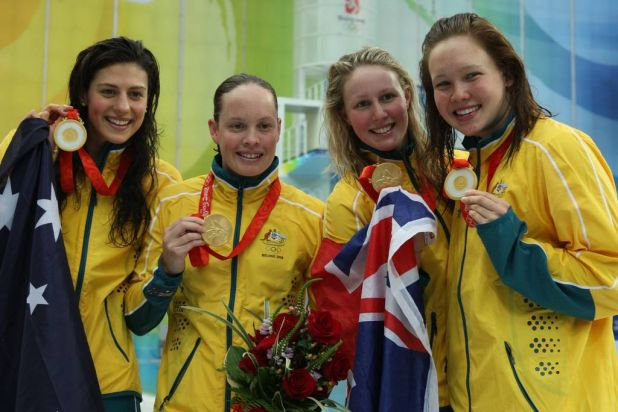 Fab four ... Stephanie Rice, Linda Mackenzie, Bronte Barratt, and Kylie Palmer with their gold medals after the women's ...
