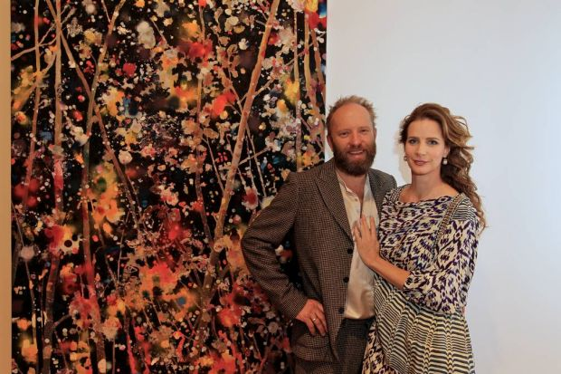 Artist Andrew Taylor with his wife Rachel Griffiths at the opening of his new exhibition. May 23, 2012.
