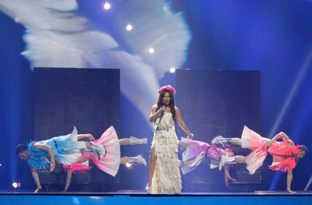 Ukraine's Gaitana performs 'Be My Guest'.