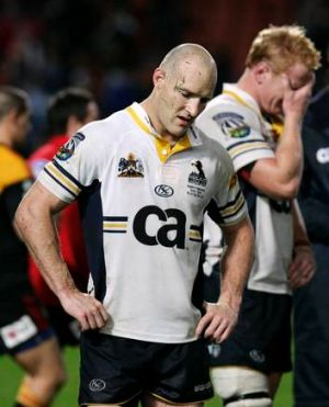 Stirling Mortlock feels the pain of a Brumbies loss in 2009.
