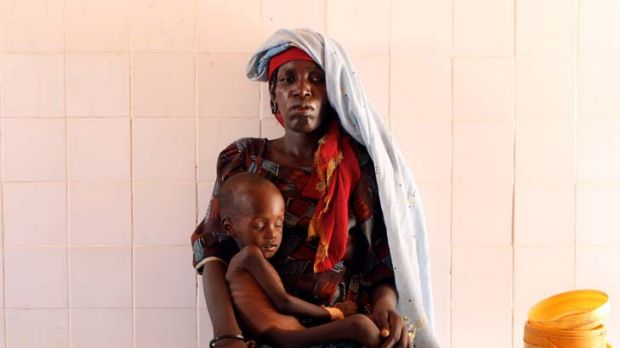 Just in time ... Mariama Awa and her malnourished son, Malla, travelled 160 kilometres for help.