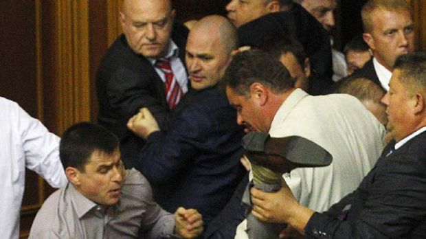 Violent reaction … the scuffle during a session in the Ukrainian parliament over the use of the Russian language ...