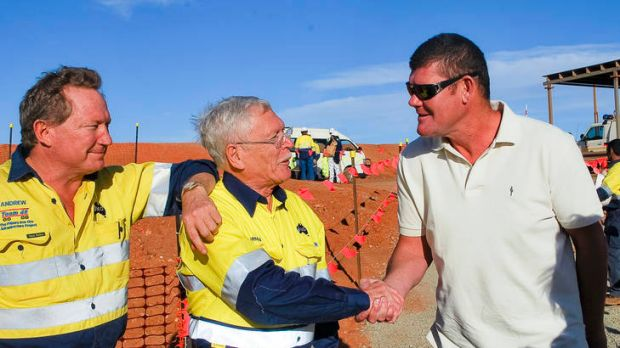 Andrew Forrest and James Packer in Port Hedland yesterday with WA Mines Minister Norman Moore.