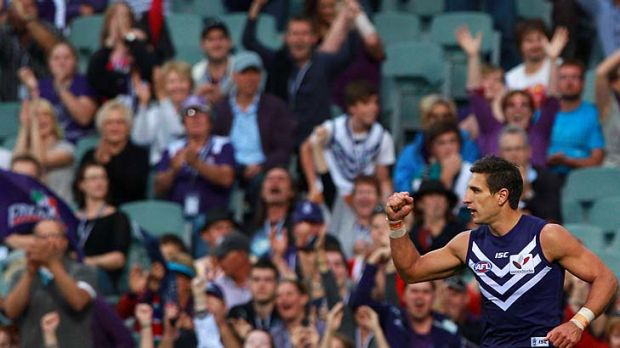 Milestone: Fremantle captain Matthew Pavlich celebrates kicking his 500th career goal, against Port Adelaide this month.