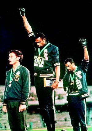 Spirit of rebellion … Peter Norman, Tommie Smith and John Carlos on the podium at the Mexico City Olympics in 1968.