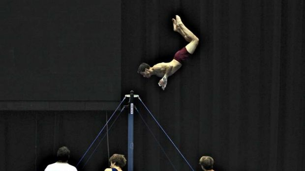 Flipping good … Olympic hopeful Thomas Pichler.