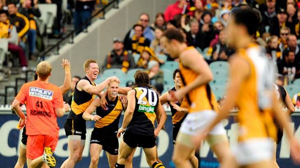 Roaring: Tigers Jack Riewoldt (left) and Ivan Maric (No. 20) celebrate Steven Morris' first AFL goal.