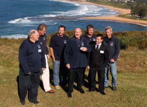Symbolic unveiling ... the divers who found the wreck.