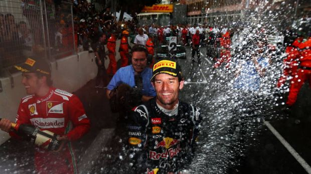 Mark Webber of Australia and Red Bull Racing celebrates winning the Monaco Formula One Grand Prix.
