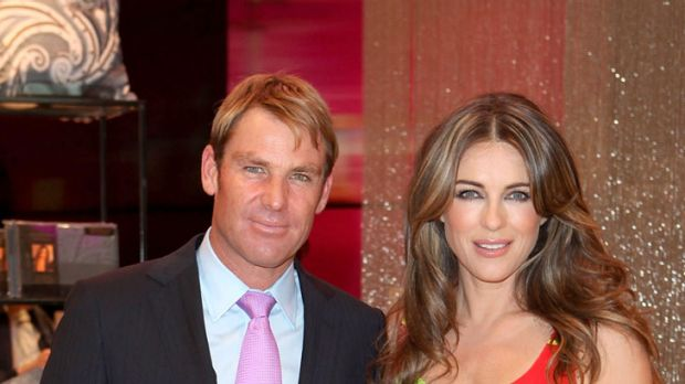 Bride and groomed ... Elizabeth Hurley with fiance Shane Warne.
