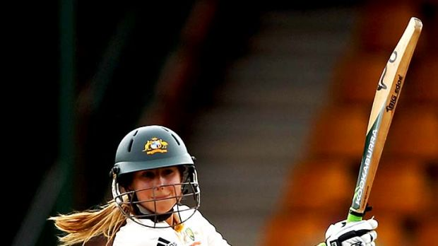 Ellyse Perry batting in a Test match against England last year.