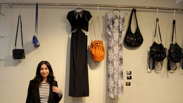 Loren Abood offers styling tips at her women's fashion store Bloodorange in Elizabeth Bay in Sydney.