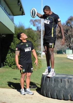 Edrick Lee, right and Dimitri Pelo at Raiders training onn Wednesday.