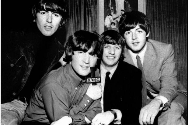 The Beatles at the BBC in London during recording sessions between 1962 and 1965.