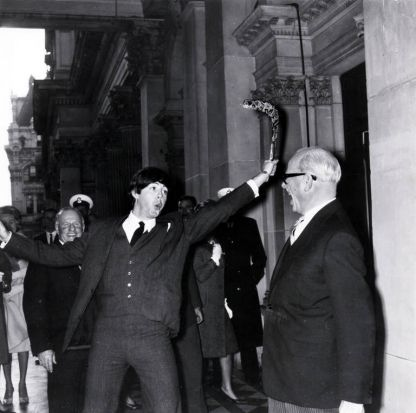 Paul McCartney is pictured during the Melbourne leg of the tour at the Melbourne Town Hall, showing his boomerang skills ...