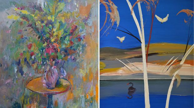 Two pieces on display at Red Hill Gallery: Flowers by Jamie Boyd and Shoalhaven River by Jamie's late father Arthur Boyd.