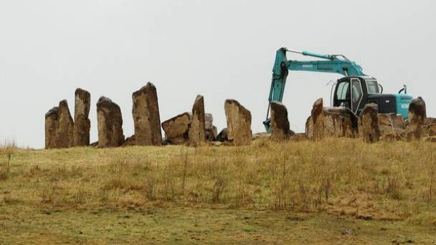 Robbie and Tracey Wallace are building a replica of Stonehenge on their property at Bywong, near the intersection of the ...