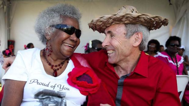 Eddie Mabo's wife, Bonita, with solicitor Greg McIntryre at yesterday's 20th anniversary celebrations in TOwnsville of ...