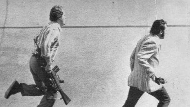 Crisis ... plainclothes police near the Olympic Village in Munich, 1972.