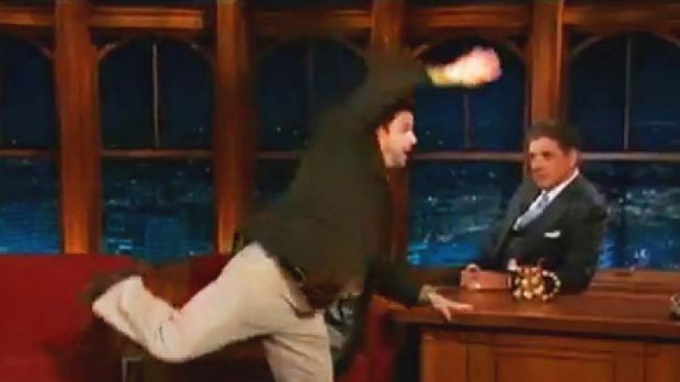 Jason Alexander delivers a leg break on the Late Late Show.
