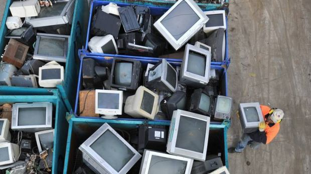 Old TV sets and computers await recycling at SRS in Thomastown.