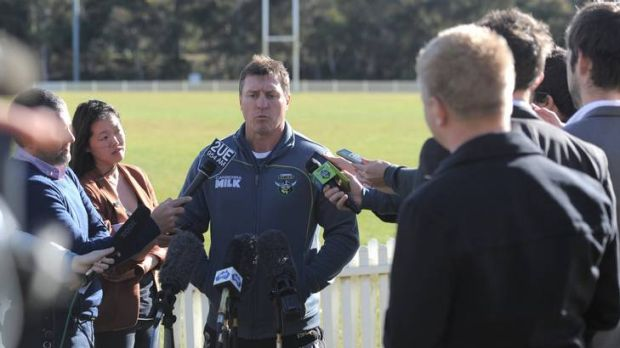 Canberra Raiders coach, David Furner, holds a press conference at Raiders HQ following Saturday night's 40-0 thrashing ...