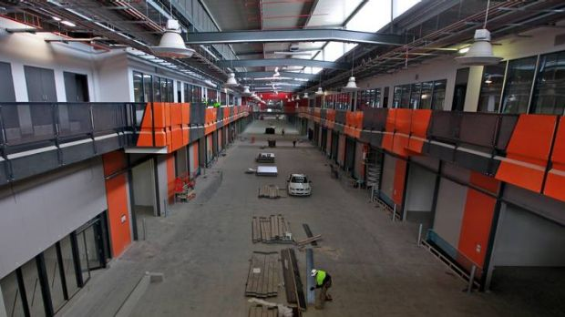 Work continues inside Melbourne's relocated wholesale fruit and vegetable market in Epping.