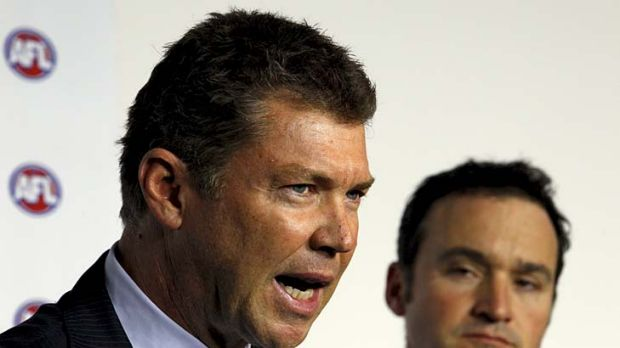 Collingwood CEO Gary Pert (left) and AFL General Manager of Football Operations Adrian Anderson discuss the racial ...
