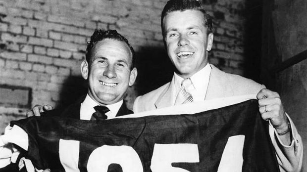 Charlie Sutton and Ted Whitten in 1954