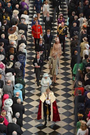 The Queen and the Royal Family leave St Paul's Cathedral.