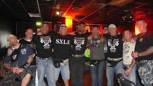 A night out for members of the Finks bikie gang, caught in this shot posted on Facebook by a would-be member.