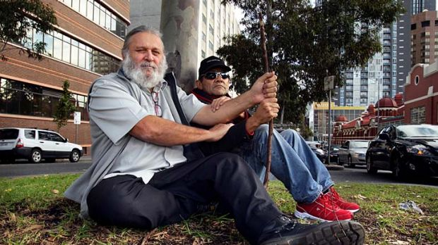 Joseph Toscano (left) and Robbie Thorpe call for a memorial for the first people to be hanged in Melbourne.