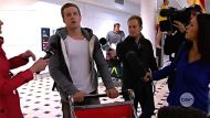 Olympic swimmer Nick D'Arcy arrives in Brisbane airport