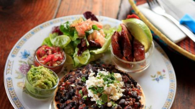 Arepas with black beans and feta from Sonido.
