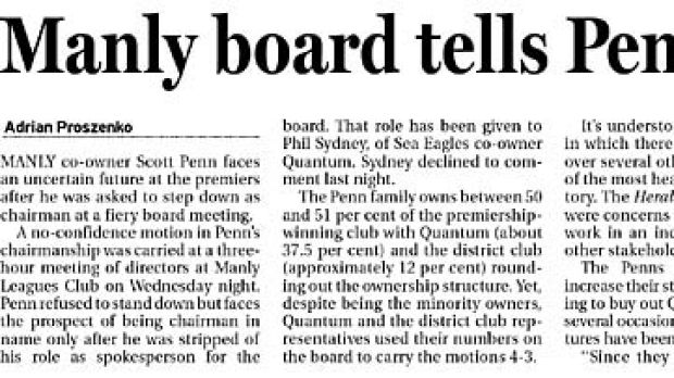 Penn is not mightier than the board … the Herald breaks the news yesterday.