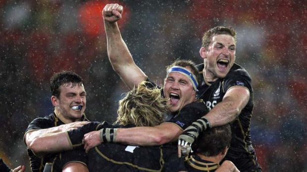 Bound to win one. Unfortunately it was against Australia ... Scotland celebrate their victory on Tuesday.