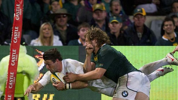 Ben Foden scores England's only try.