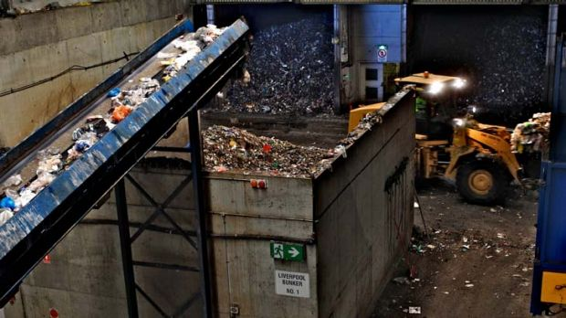Sorting and refining … SITA's waste treatment facility sorts household waste.