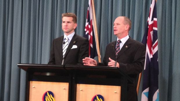 Queensland Attorney-General Jarrod Bleijie and Premier Campbell Newman announcing that the state's same-sex civil unions ...
