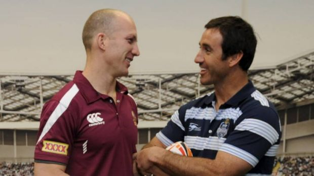 Former State of Origin greats Darren Lockyer, left, and Andrew Johns catch up in Sydney yesterday ahead of Origin II.
