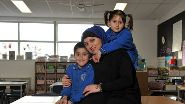 Lessons in generosity: Hiba Kannouj's children Daniel and Danya benefit from charity programs.