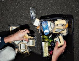 Cheese platter … dumpster diving allows you to eat foods several levels higher than your income.