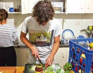 Prep school … whipping up a delicious meal with scrounged ingredients.
