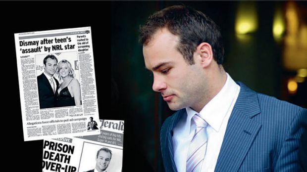 The accused … Manly rugby league player Brett Stewart leaves a Sydney court in September 2010 during his trial for ...