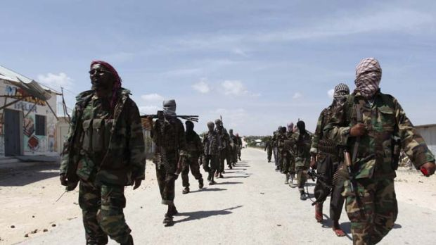 Al Shabab soldiers patrol the streets of southern Mogadishu.