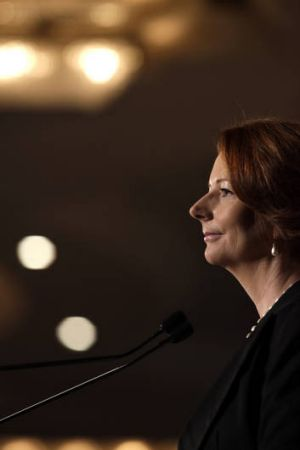 Resilient ...  Julia Gillard at the Women in Leadership lunch yesterday.