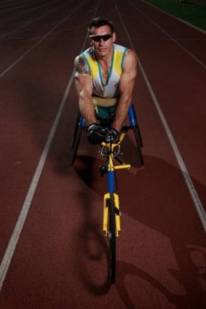 Wheelchair athlete Richard Nicholson during training at the Australian Institute of Sport in Canberra in preparation for ...